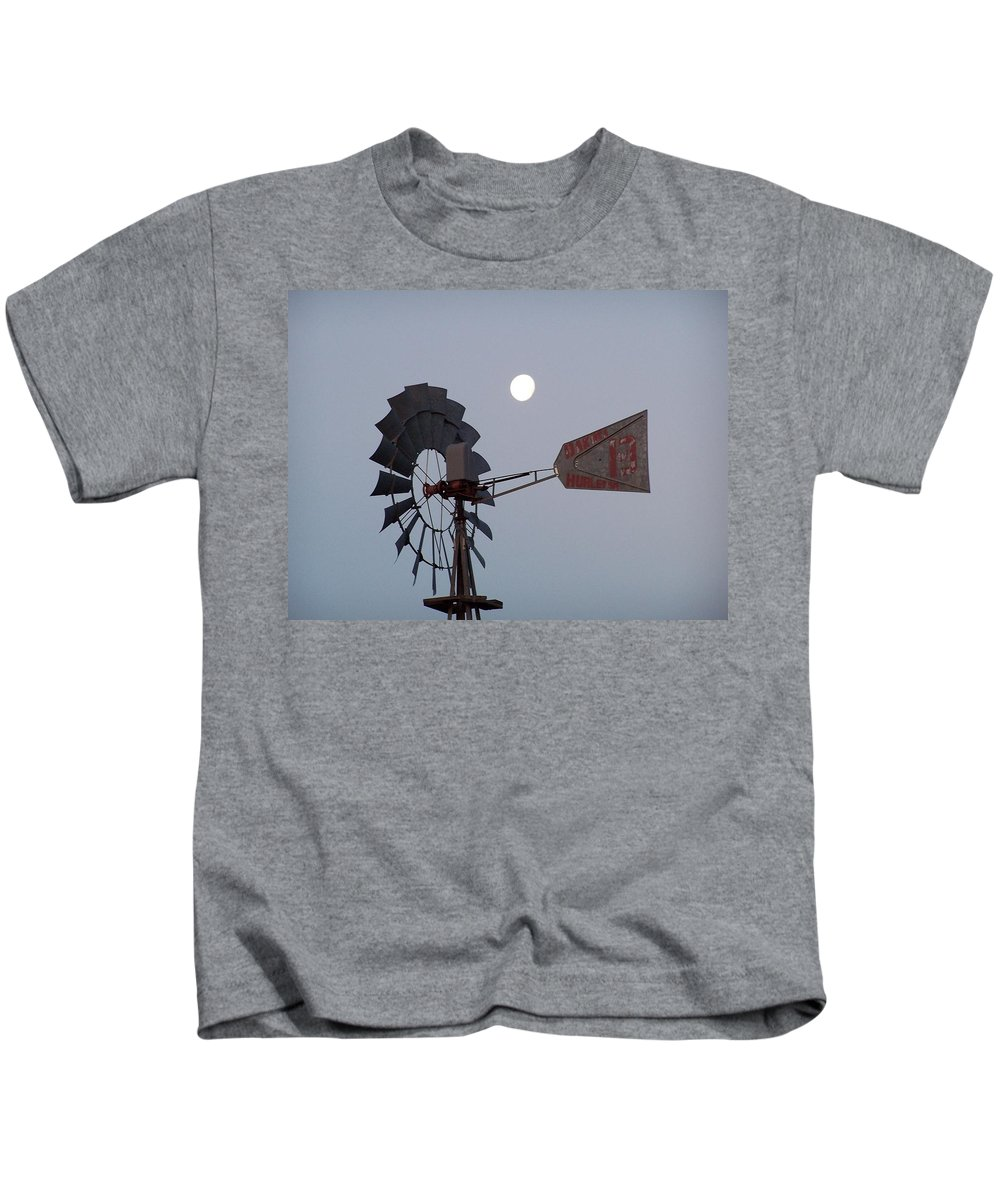Windmill Kids T-Shirt featuring the photograph Windmill Moon by Gale Cochran-Smith