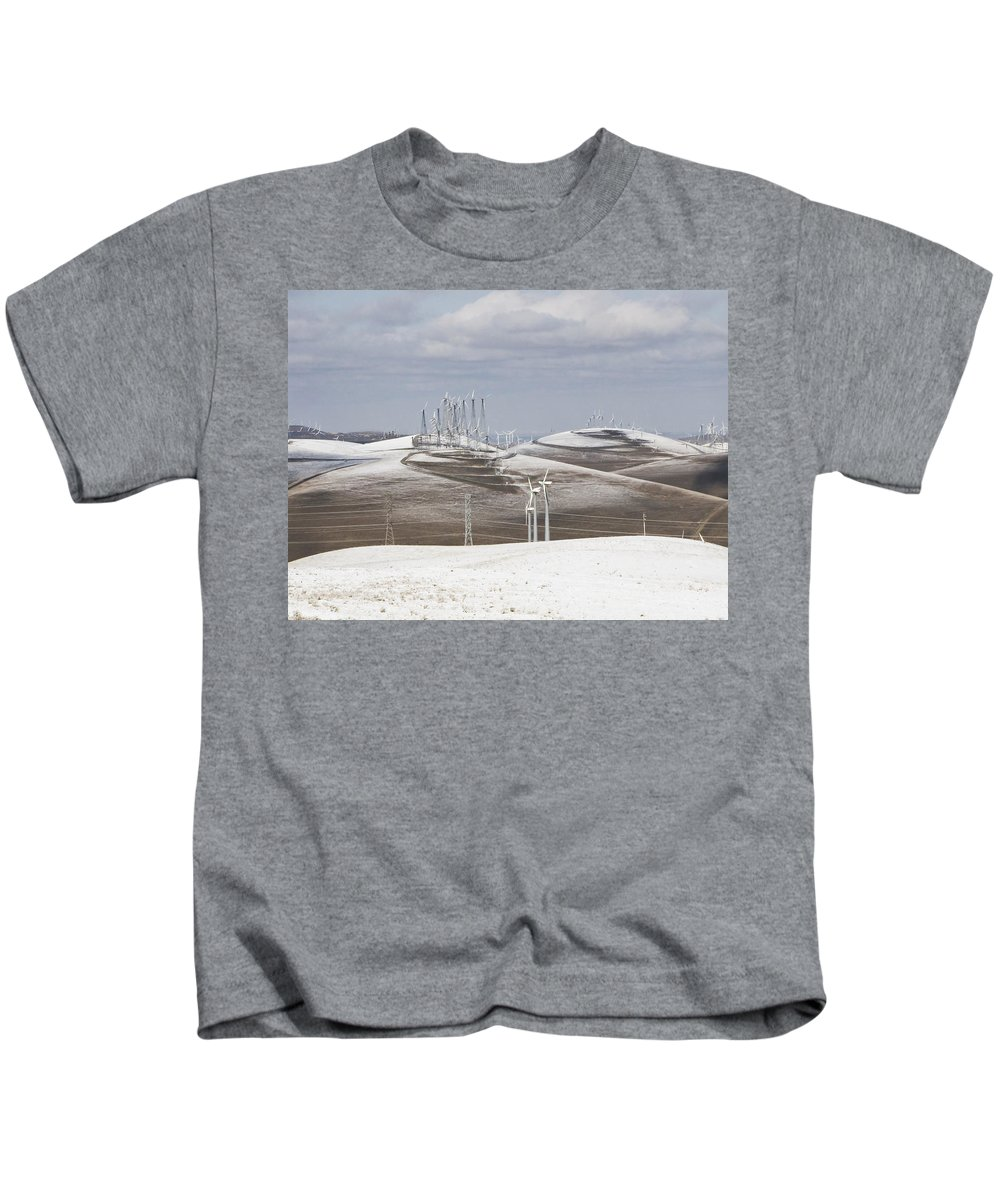 Patterson Pass Kids T-Shirt featuring the photograph Windmils In Snow by Karen W Meyer