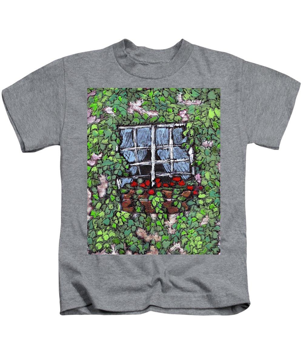 Flowers Kids T-Shirt featuring the painting Window Flower Box by Wayne Potrafka