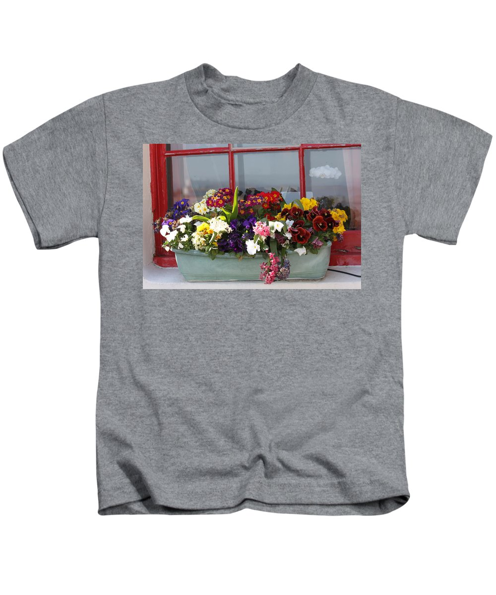 Flowers Kids T-Shirt featuring the photograph Window Flowers by Lauri Novak