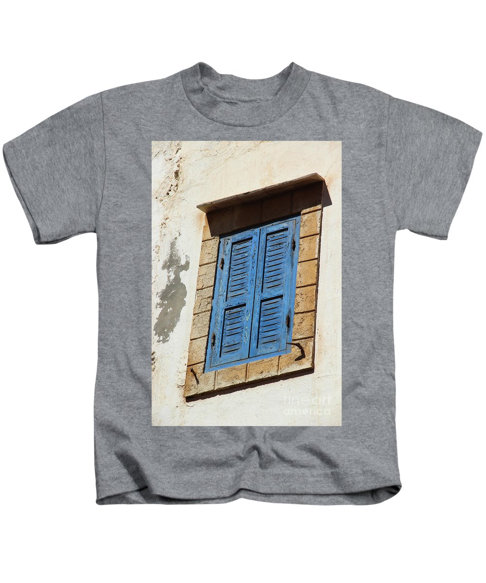 Morocco Kids T-Shirt featuring the photograph Window In Moroccan Blue by Hilary Emberton