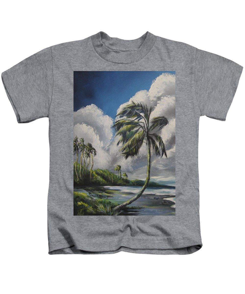 Tropics Kids T-Shirt featuring the painting Winds by Melody Horton Karandjeff