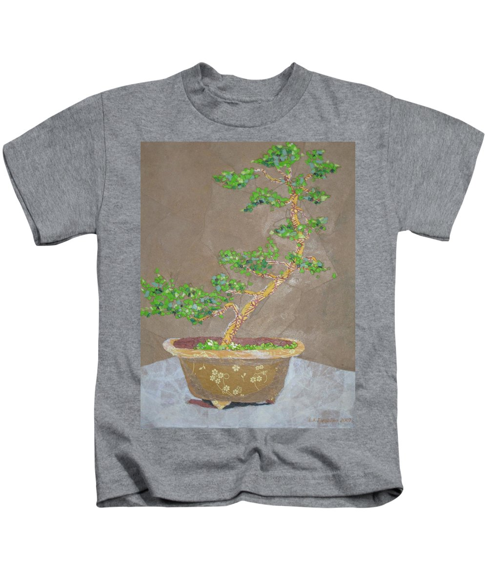 Banzai Tree Kids T-Shirt featuring the painting Windswept Juniper by Leah Tomaino