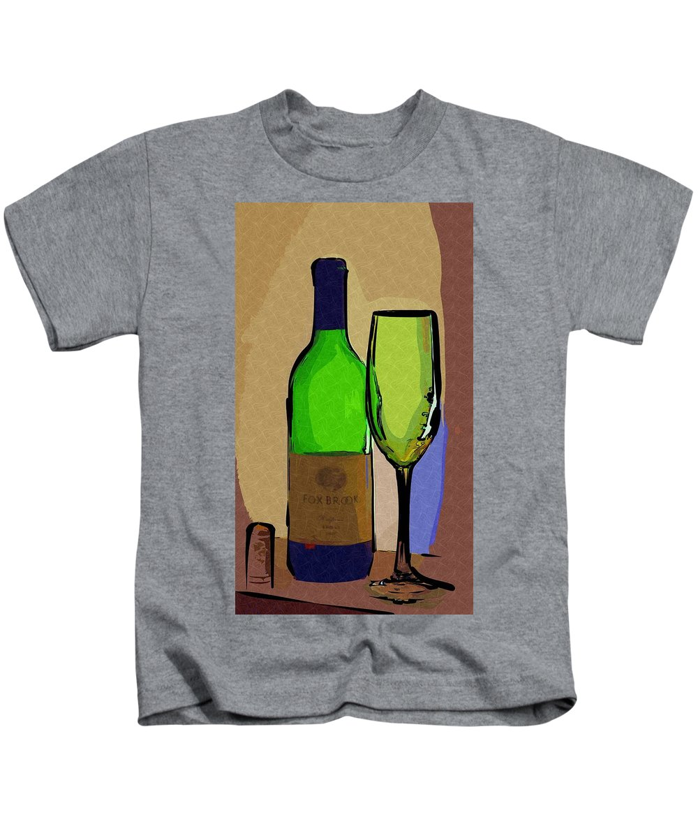 Wine Kids T-Shirt featuring the photograph Wine And Glass by Donna Bentley