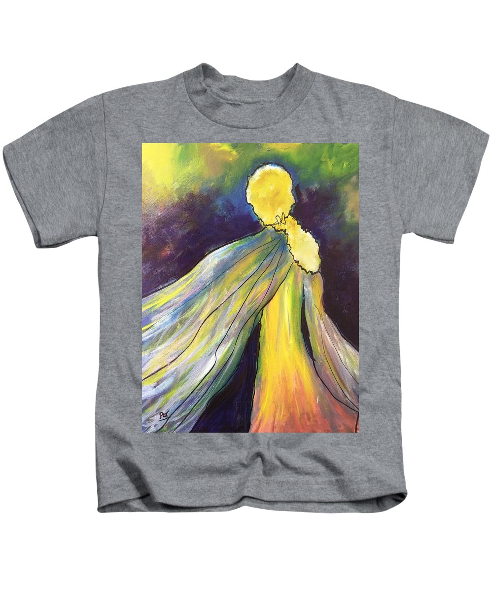 Goddess Kids T-Shirt featuring the painting Winged Goddess Update by Patricia Taylor
