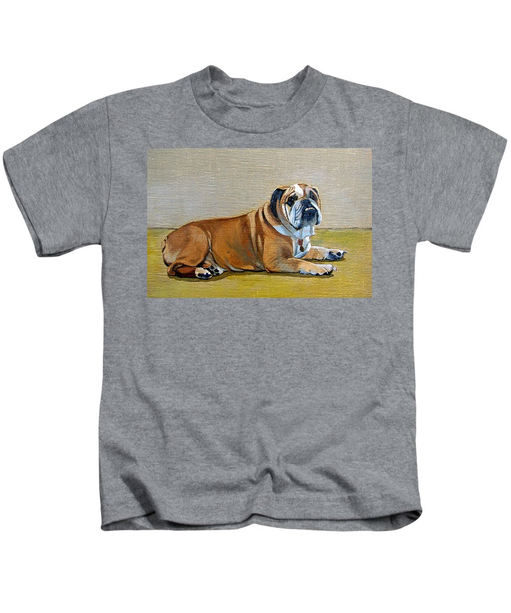 Portait Kids T-Shirt featuring the painting Winston by Laurie Paci