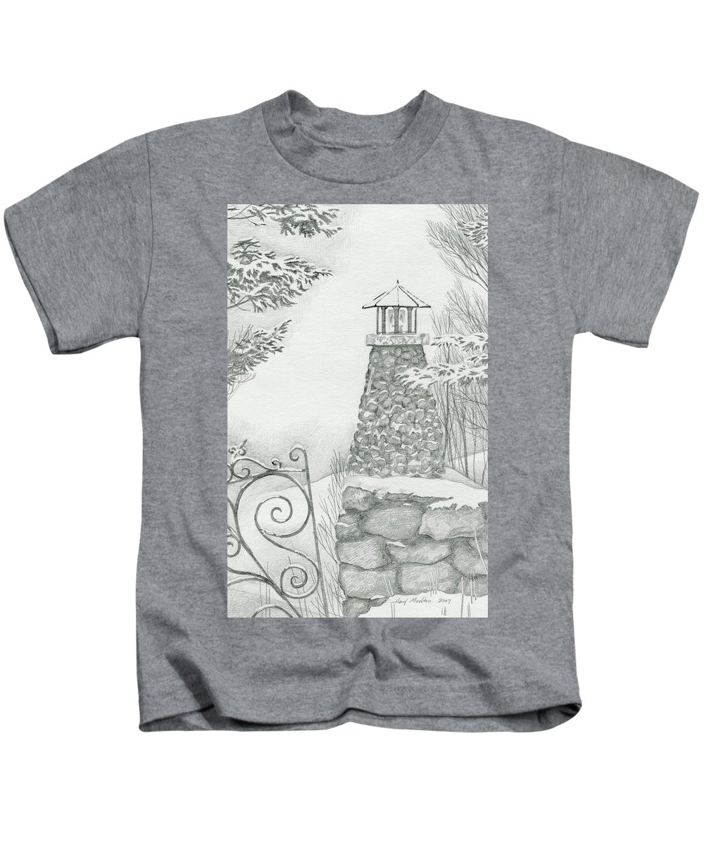Landscape Kids T-Shirt featuring the drawing Winter At The Lake by Harry Moulton