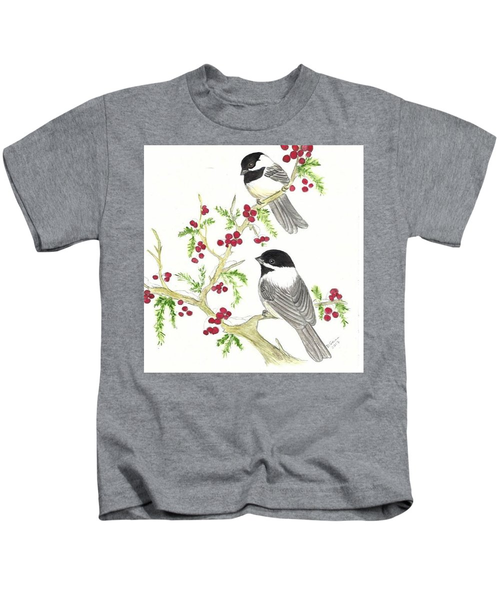 Watercolor Kids T-Shirt featuring the painting Winter Chickadees And Berries by Dee Grimm