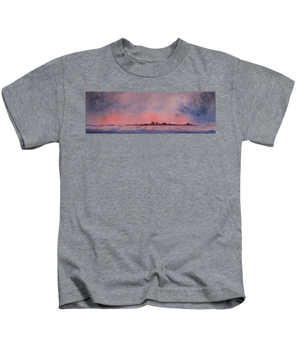 Winter Kids T-Shirt featuring the painting Winter City by Ruth Kamenev