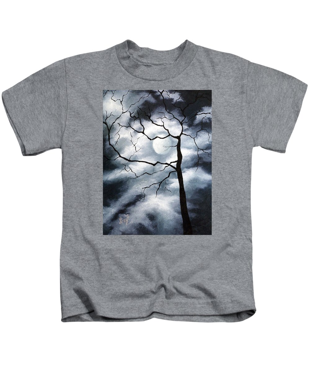 Winter Kids T-Shirt featuring the painting Winter Evening by Elizabeth Lisy Figueroa