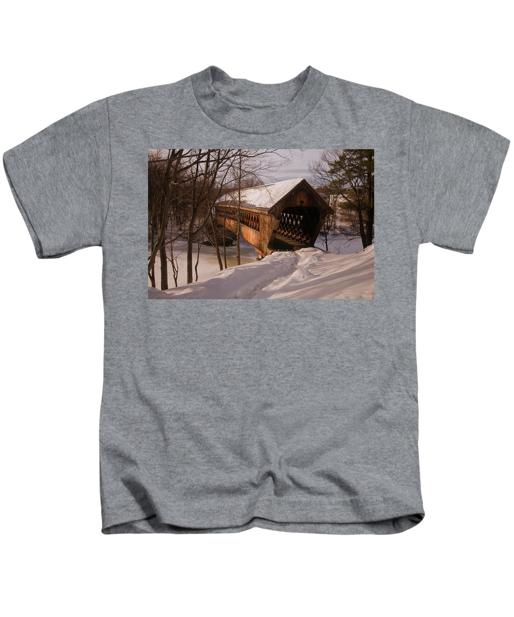 new England Covered Bridges Kids T-Shirt featuring the photograph Winter Henniker by Paul Mangold