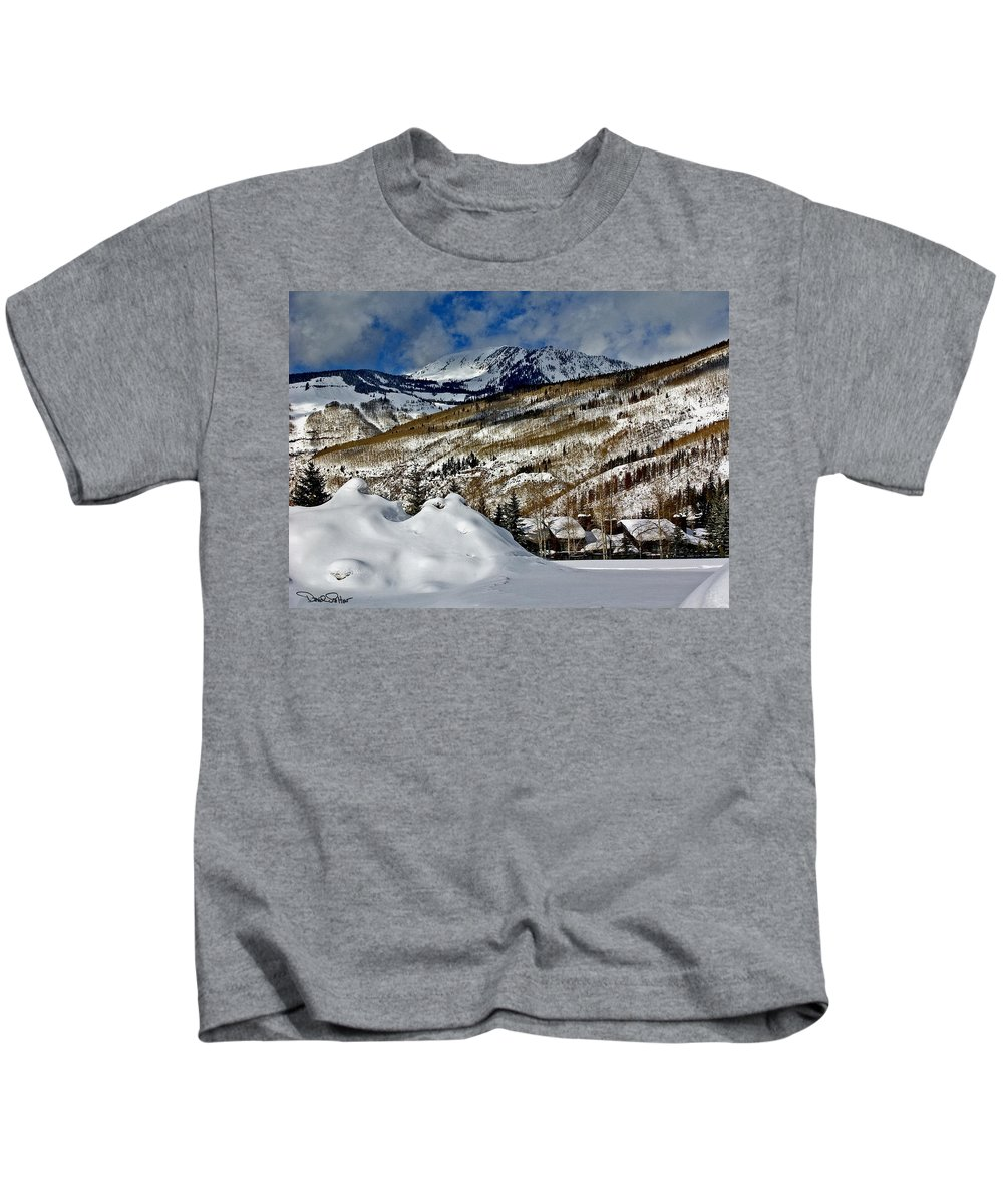 Winter Landscape Kids T-Shirt featuring the photograph Winter In East Vail by David Salter