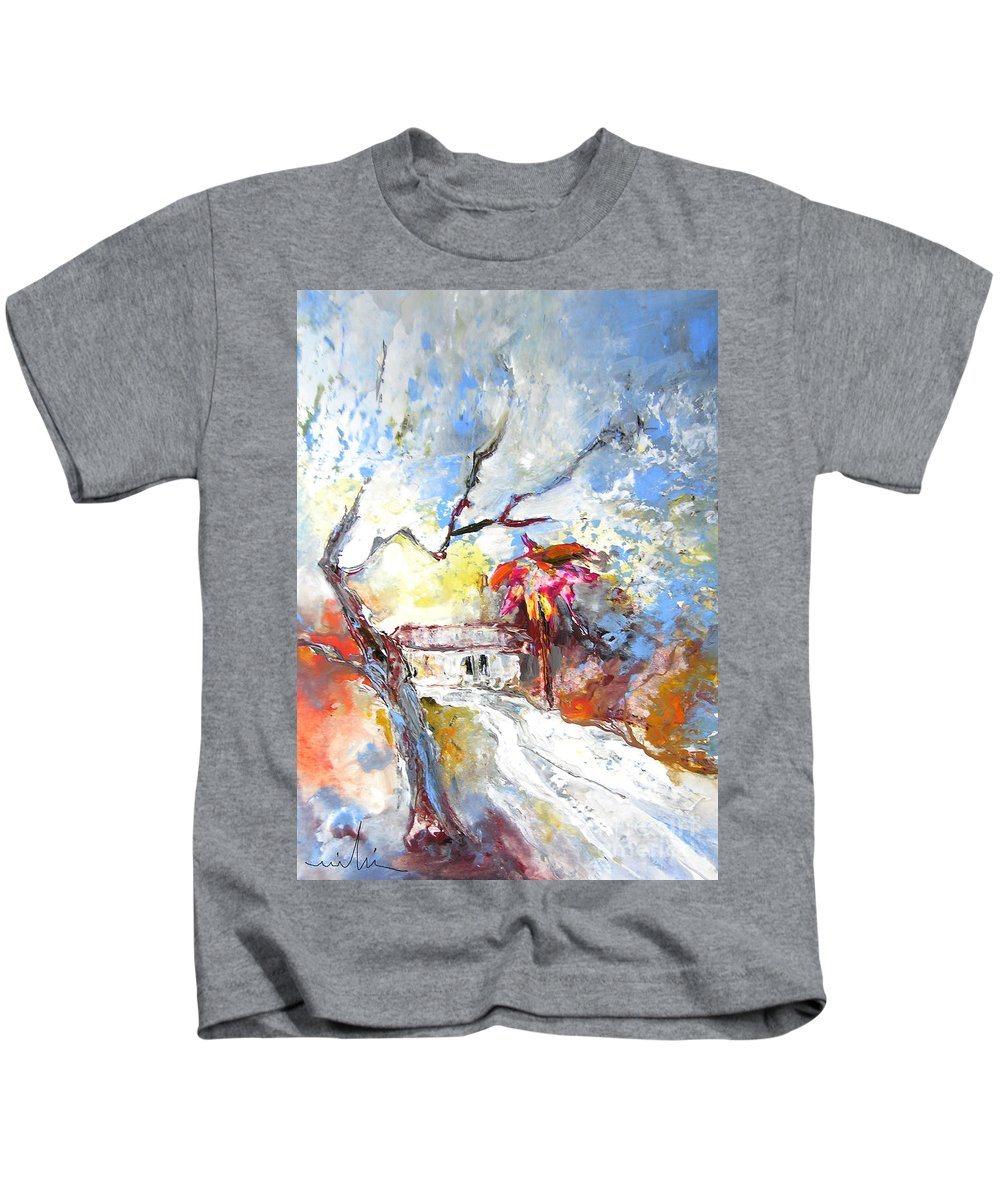 Spain Kids T-Shirt featuring the painting Winter In Spain by Miki De Goodaboom