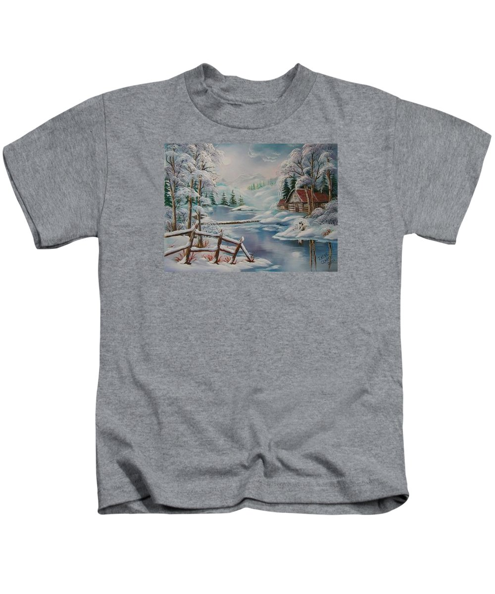 Winter Scapes Kids T-Shirt featuring the painting Winter In The Valley by Irene Clarke