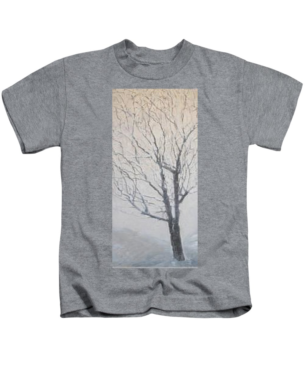 Tree Kids T-Shirt featuring the painting Winter by Leah Tomaino
