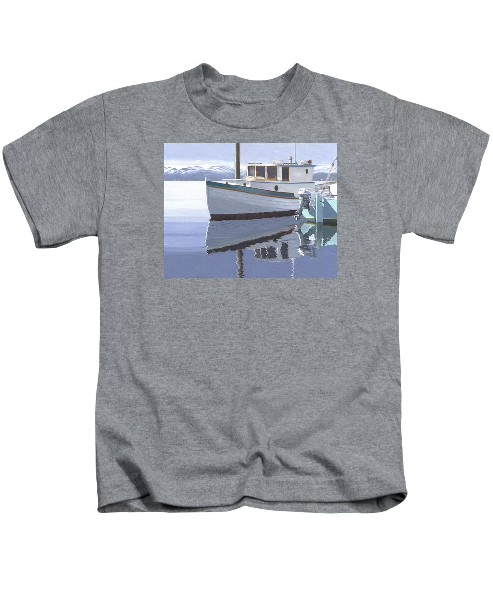Marine Kids T-Shirt featuring the painting Winter Moorage by Gary Giacomelli