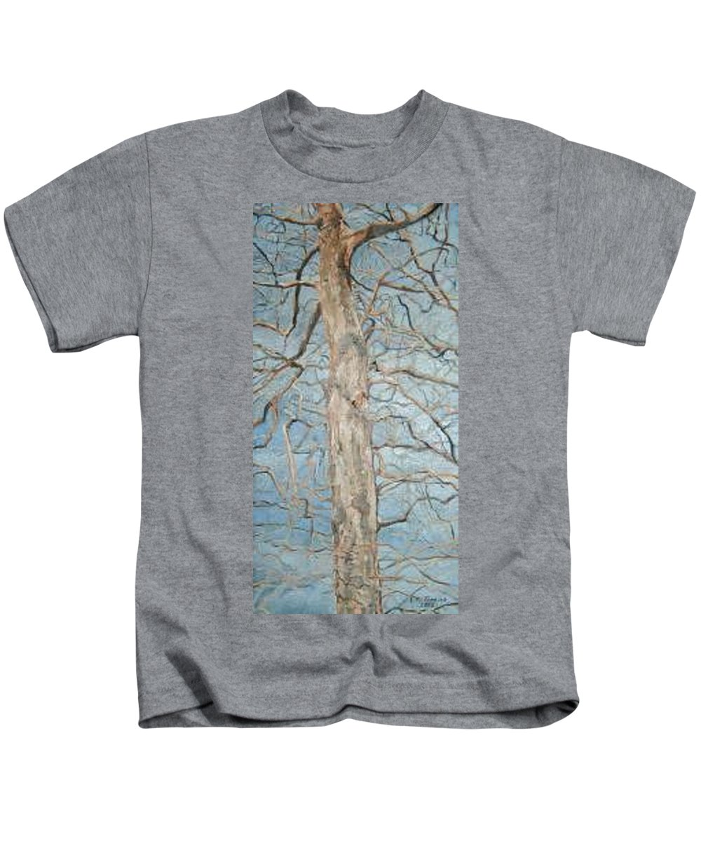 Tree Kids T-Shirt featuring the painting Winter Morning by Leah Tomaino