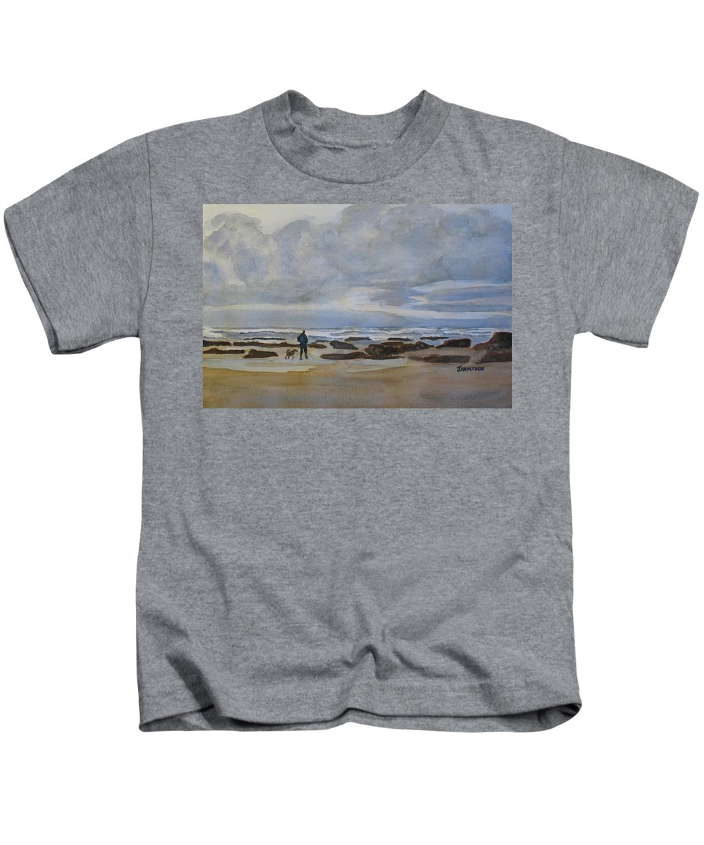 Beach Kids T-Shirt featuring the painting Winter Morning Solitude II by Jenny Armitage