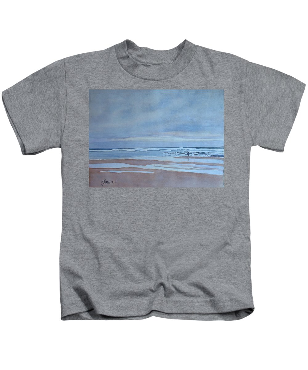 Ocean Kids T-Shirt featuring the painting Winter Morning Solitude by Jenny Armitage