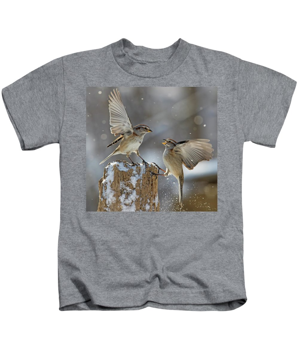 Tree Kids T-Shirt featuring the photograph Winter Quarrel by Mircea Costina Photography