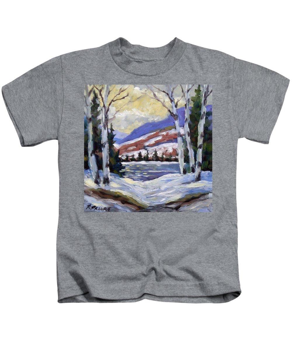 Art Kids T-Shirt featuring the painting Winter Reflections by Richard T Pranke