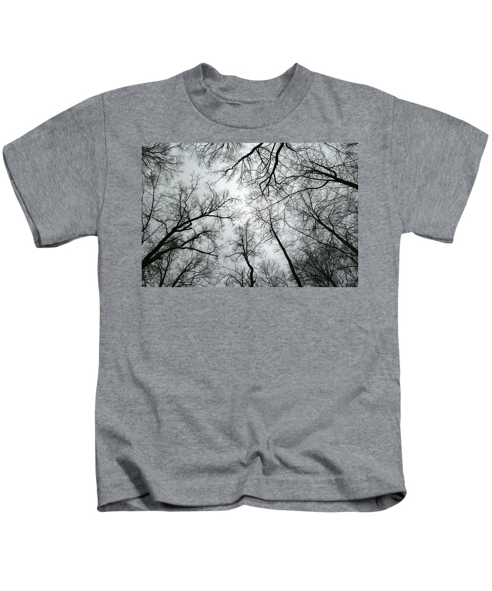 Winter Sky Tree Trees Grey Gloomy Peaceful Quite Calm Peace Cloudy Overcast Dark Kids T-Shirt featuring the photograph Winter Sky by Andrei Shliakhau