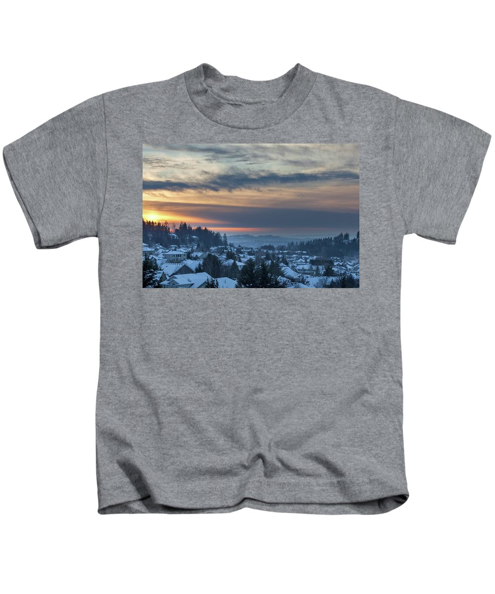 Happy Valley Kids T-Shirt featuring the photograph Winter Snow At Sunset In Happy Valley Oregon by Jit Lim