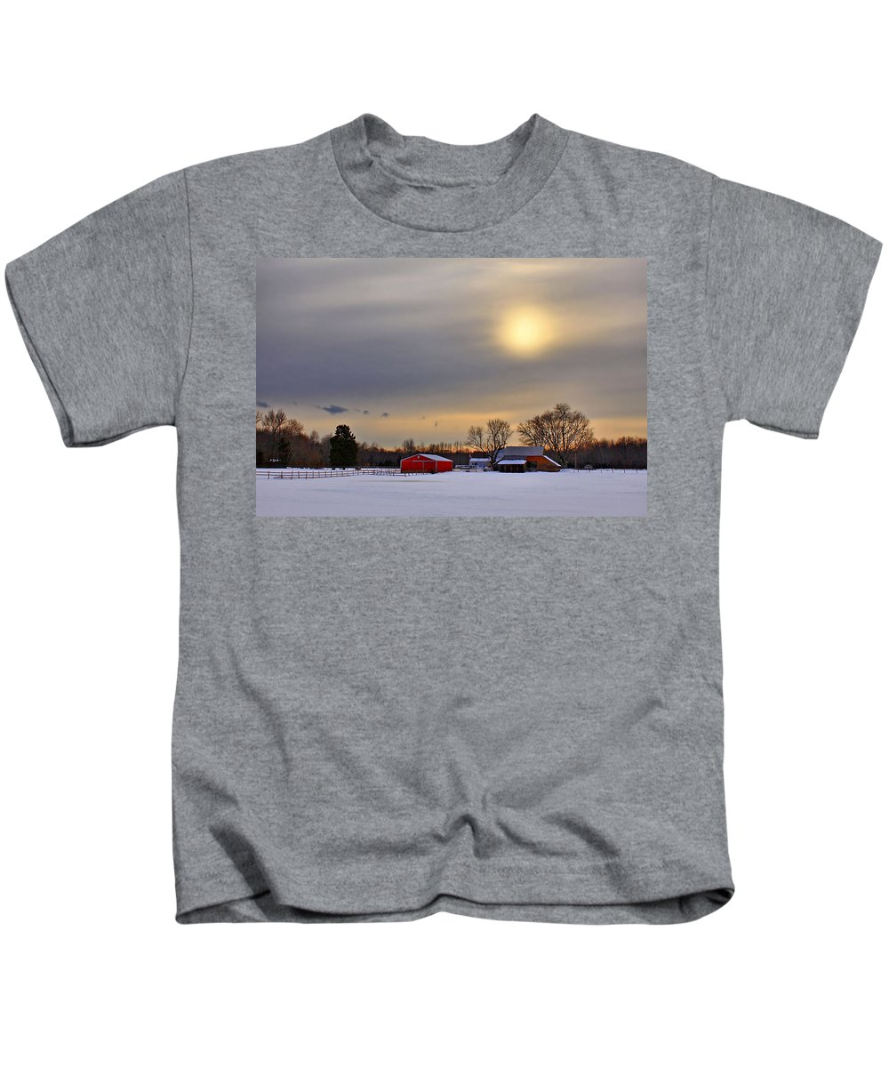 Barn Kids T-Shirt featuring the photograph Winter Sun by Evelina Kremsdorf