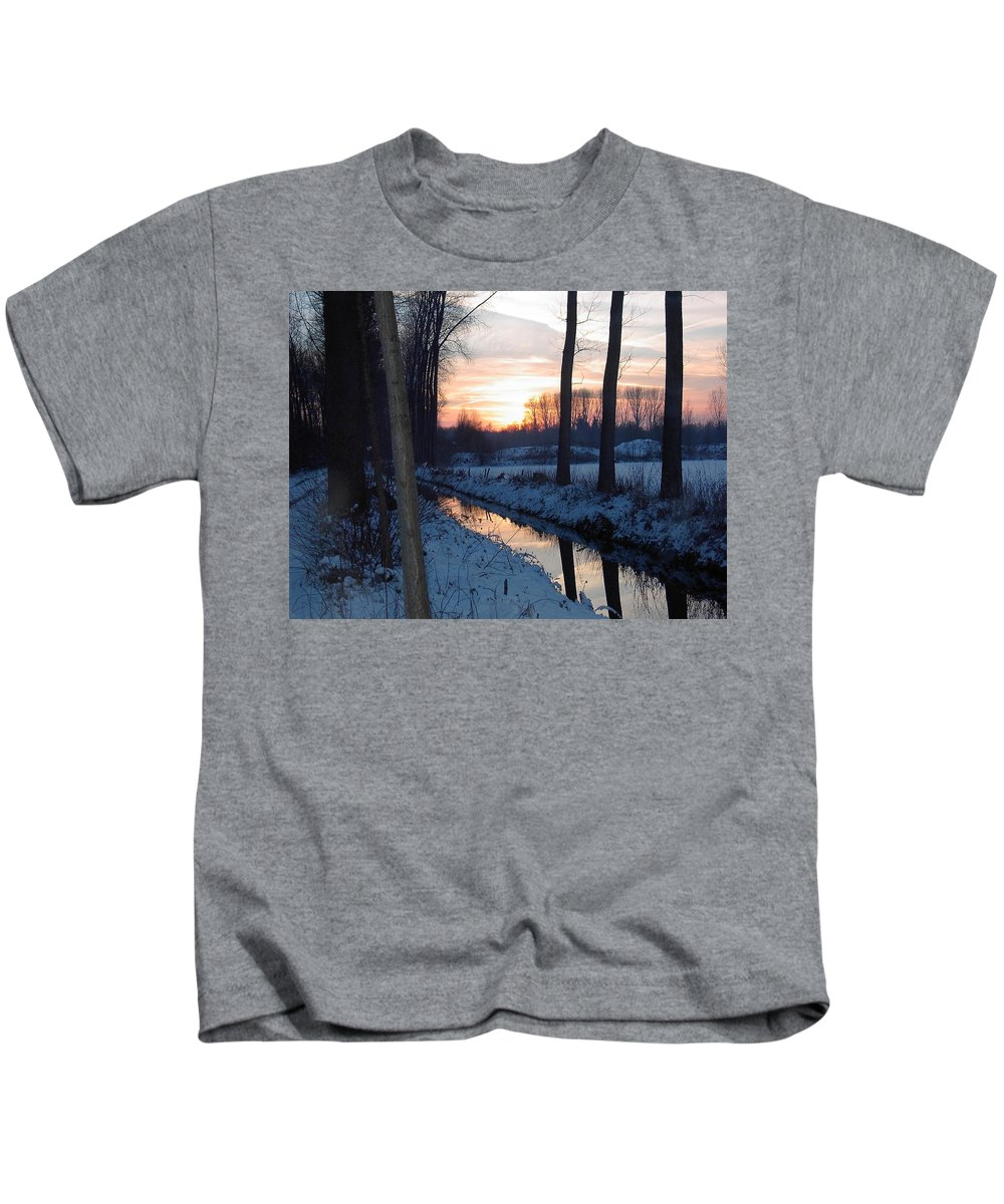 Landscape Kids T-Shirt featuring the photograph Winter Sunset by Gwenllian Facius