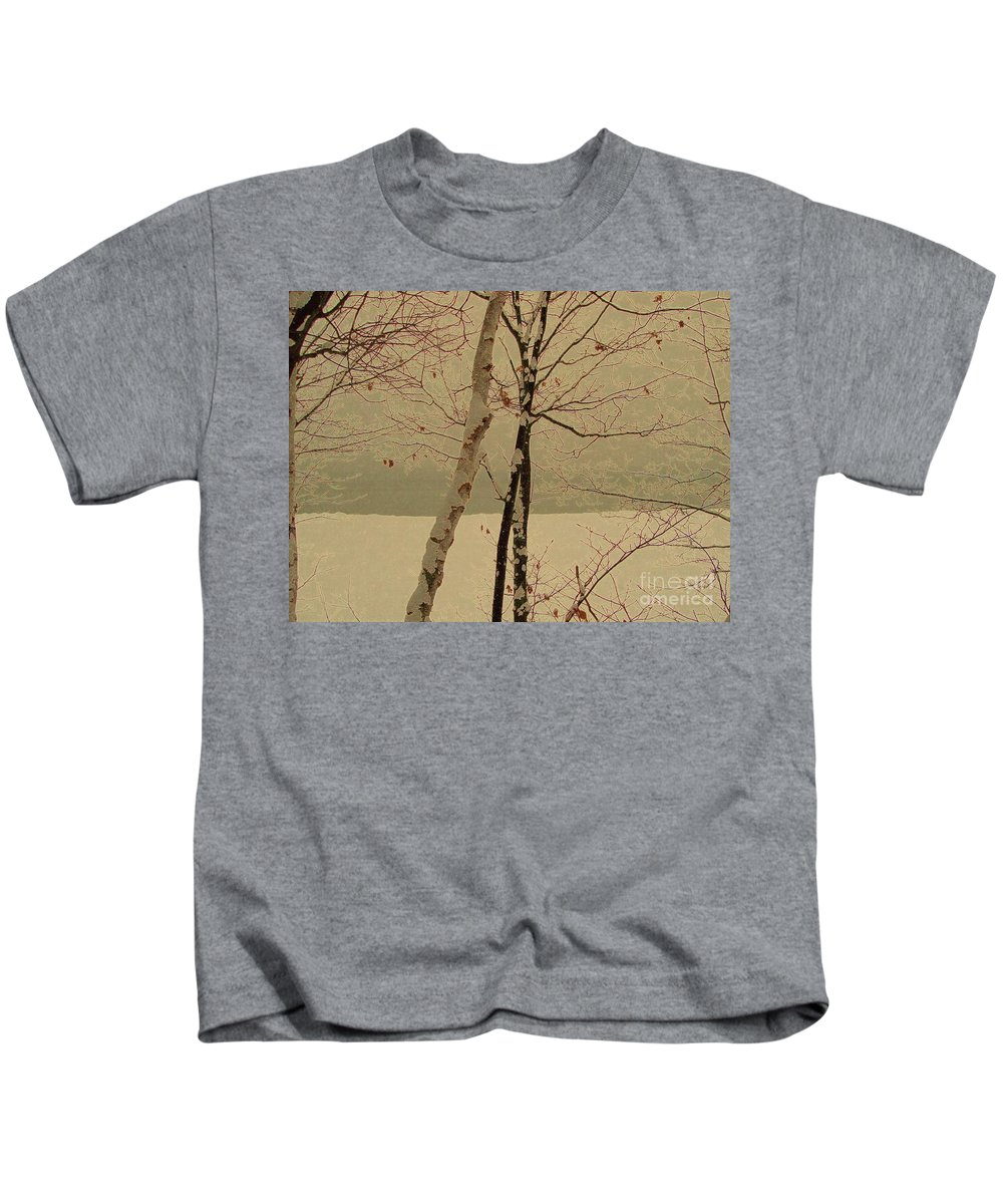 Tree Kids T-Shirt featuring the mixed media Winter Tree Over Bay by Desiree Paquette
