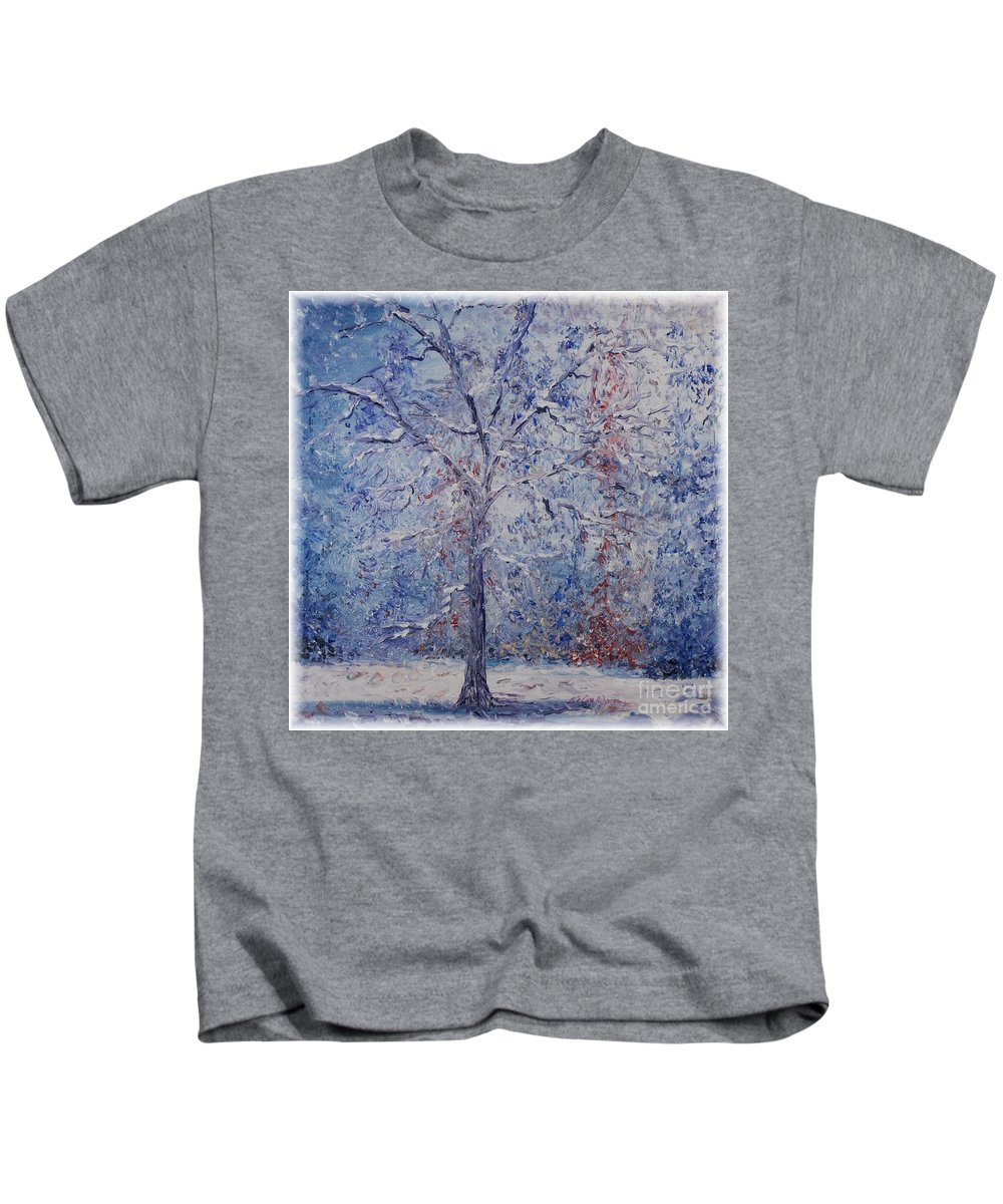 Winter Kids T-Shirt featuring the painting Winter Trees by Nadine Rippelmeyer