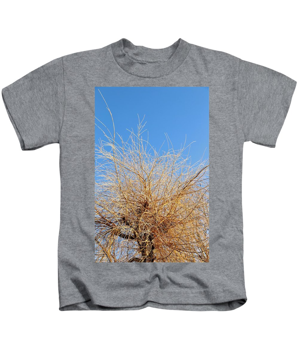 Tree Kids T-Shirt featuring the photograph Winter Willow by Venus Speedwell