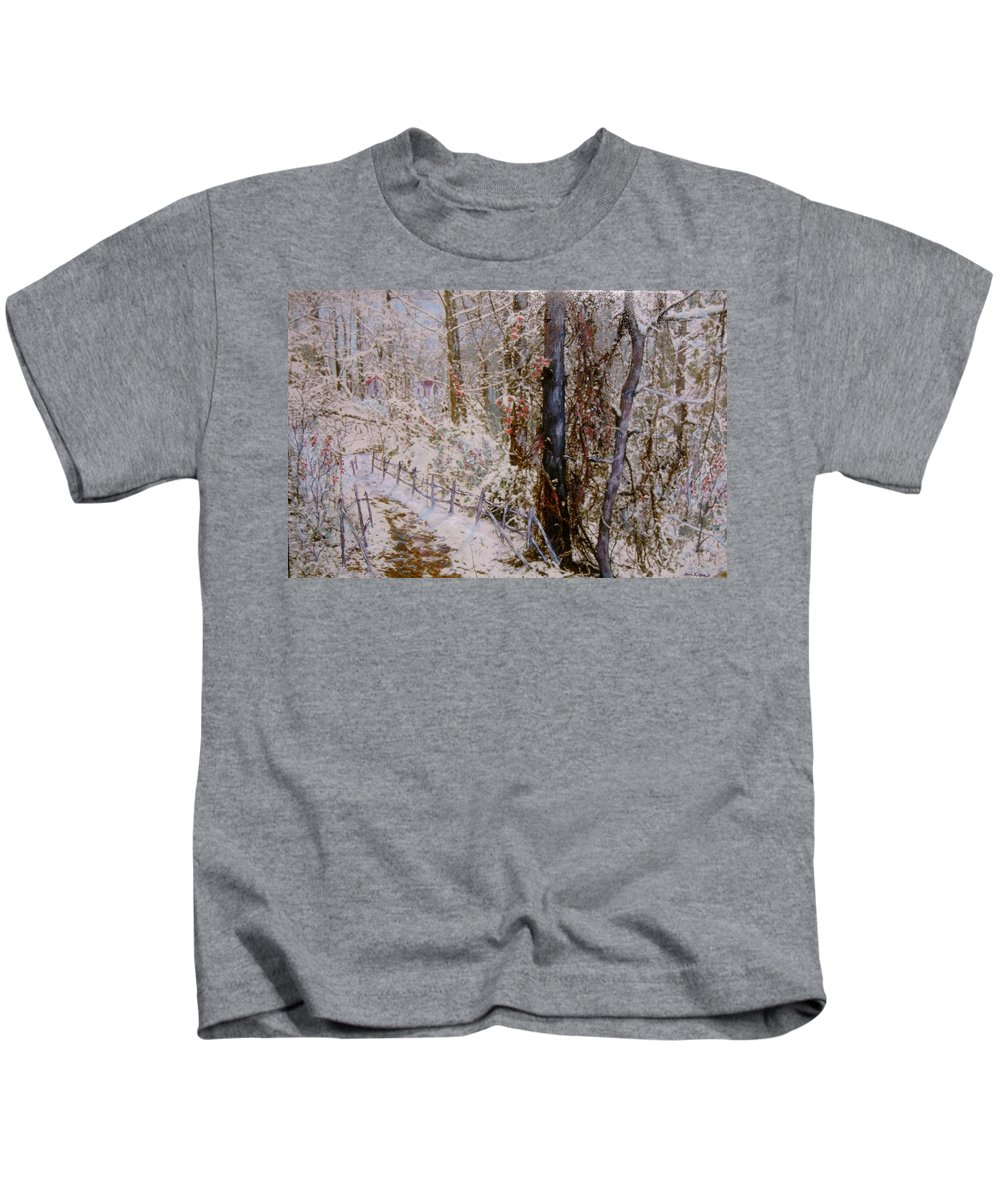 Snow; Trees Kids T-Shirt featuring the painting Winter Wonderland by Ben Kiger
