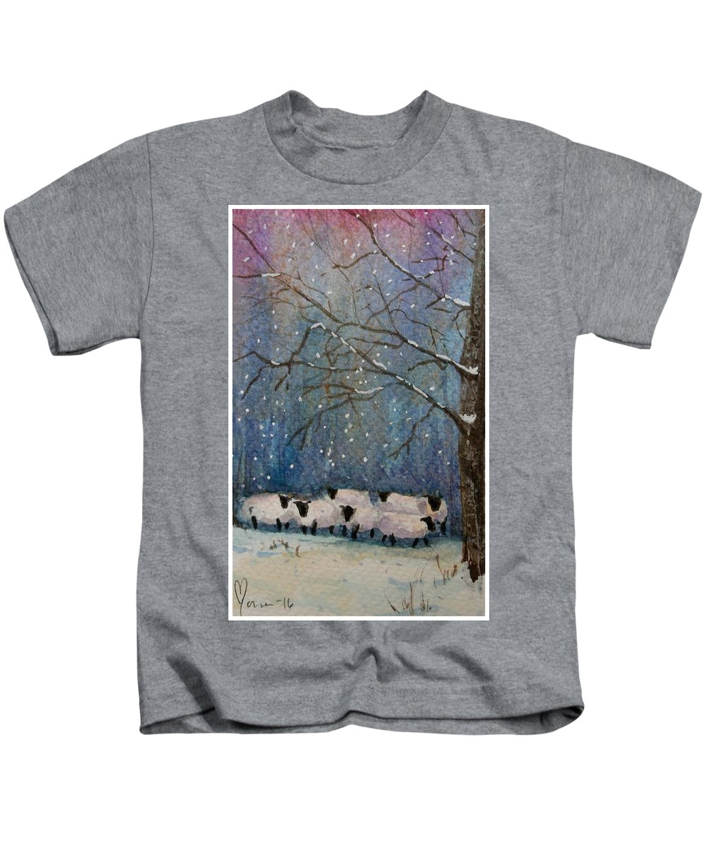 Sheep Kids T-Shirt featuring the painting Winter Wool by Mona Davis