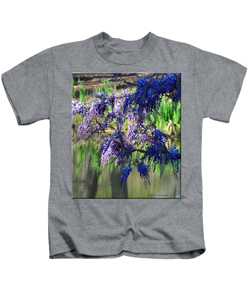 Blue Kids T-Shirt featuring the photograph Wisteria by Terry Anderson