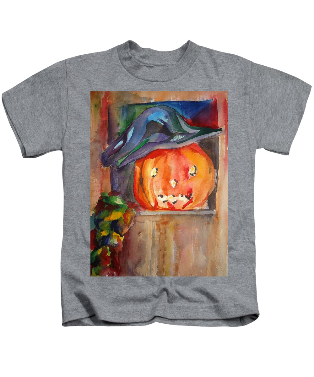 Halloween Kids T-Shirt featuring the painting Witch Pumpkin by Charme Curtin