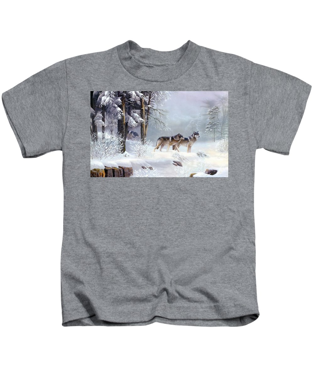 Wolf Kids T-Shirt featuring the digital art Wolf by Dorothy Binder