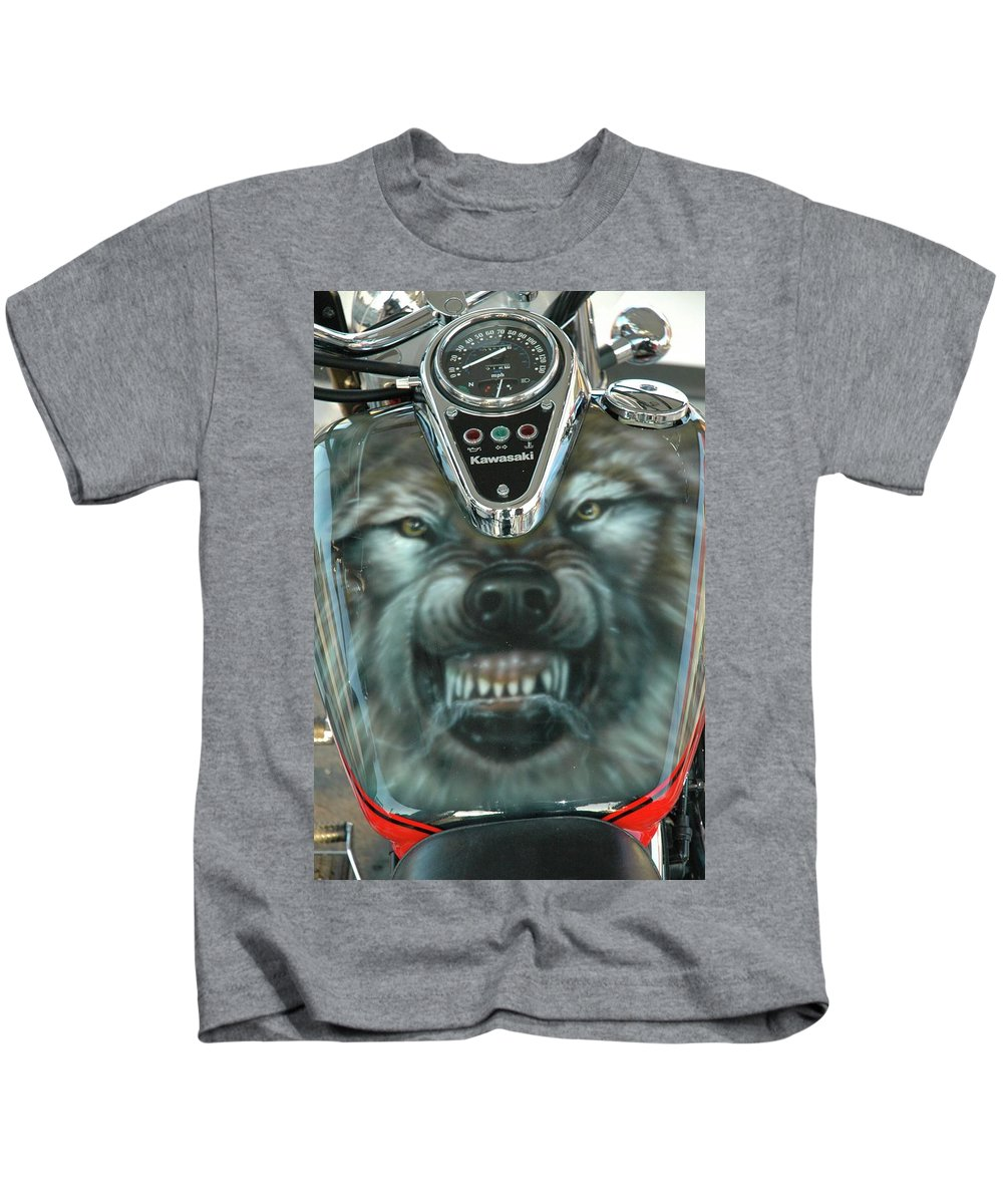 Kids T-Shirt featuring the painting Wolf Motorcycle Gas Tank by Wayne Pruse