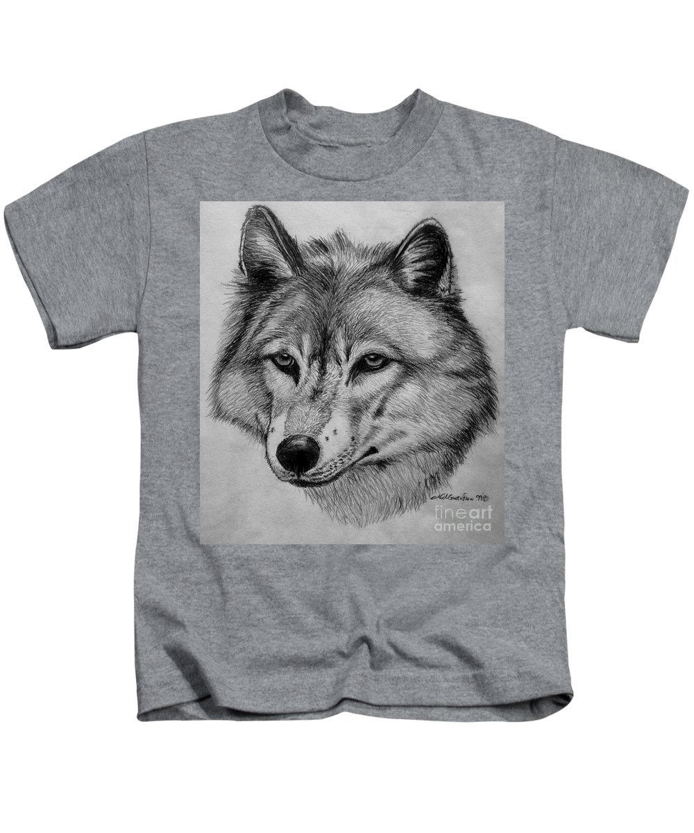 Wolf Kids T-Shirt featuring the drawing Wolf Sketch by Nick Gustafson