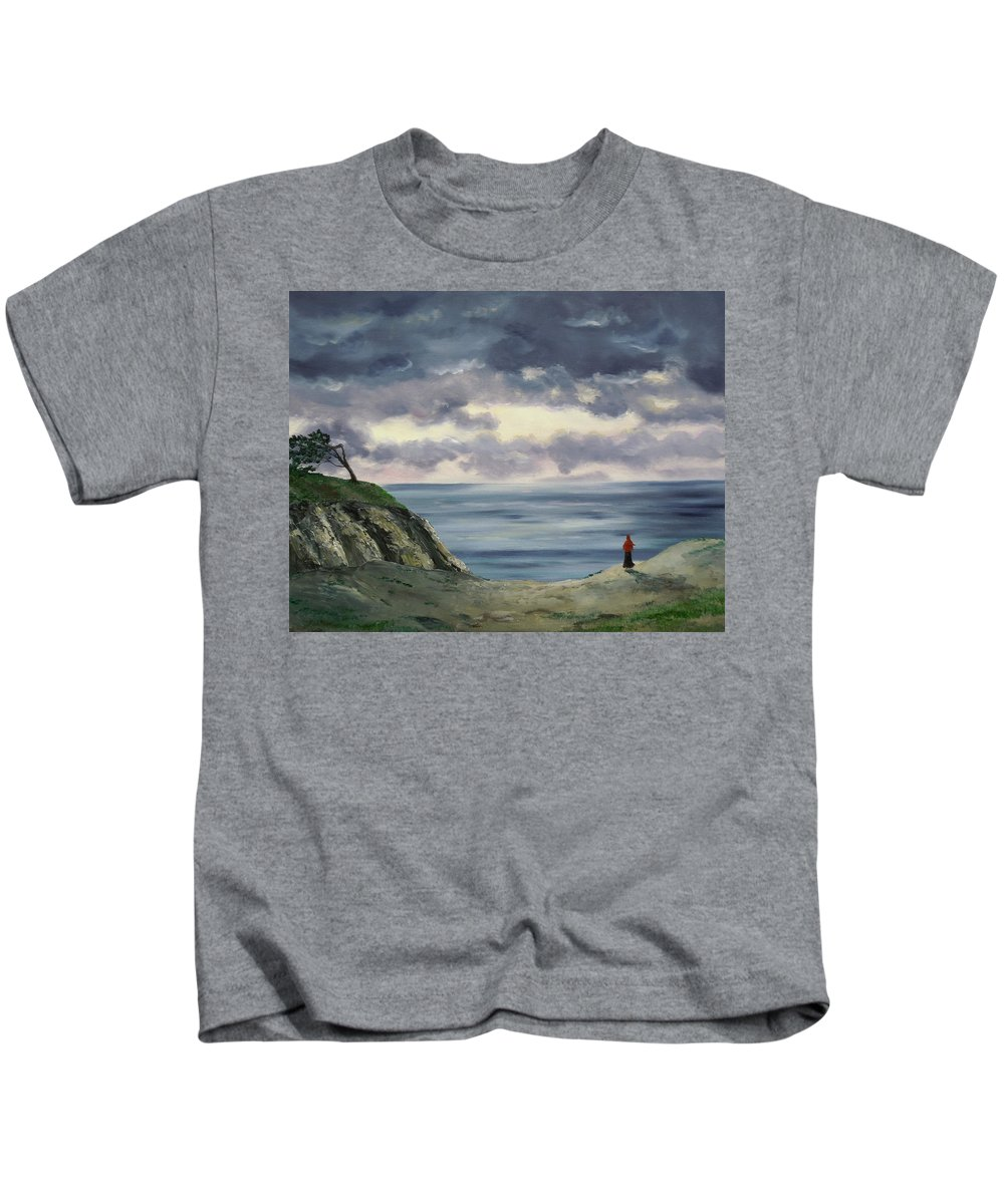 California Kids T-Shirt featuring the painting Woman In A Red Shawl by Laura Iverson