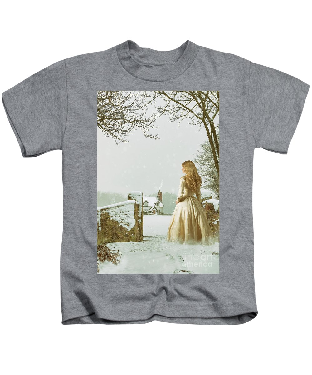 Woman Kids T-Shirt featuring the photograph Woman In Snow Scene by Amanda Elwell