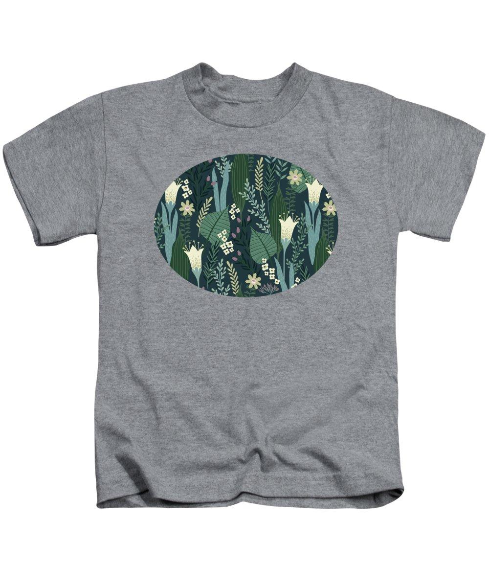 Pattern Kids T-Shirt featuring the painting Wonderful Mid Century Style Garden Patten by Little Bunny Sunshine