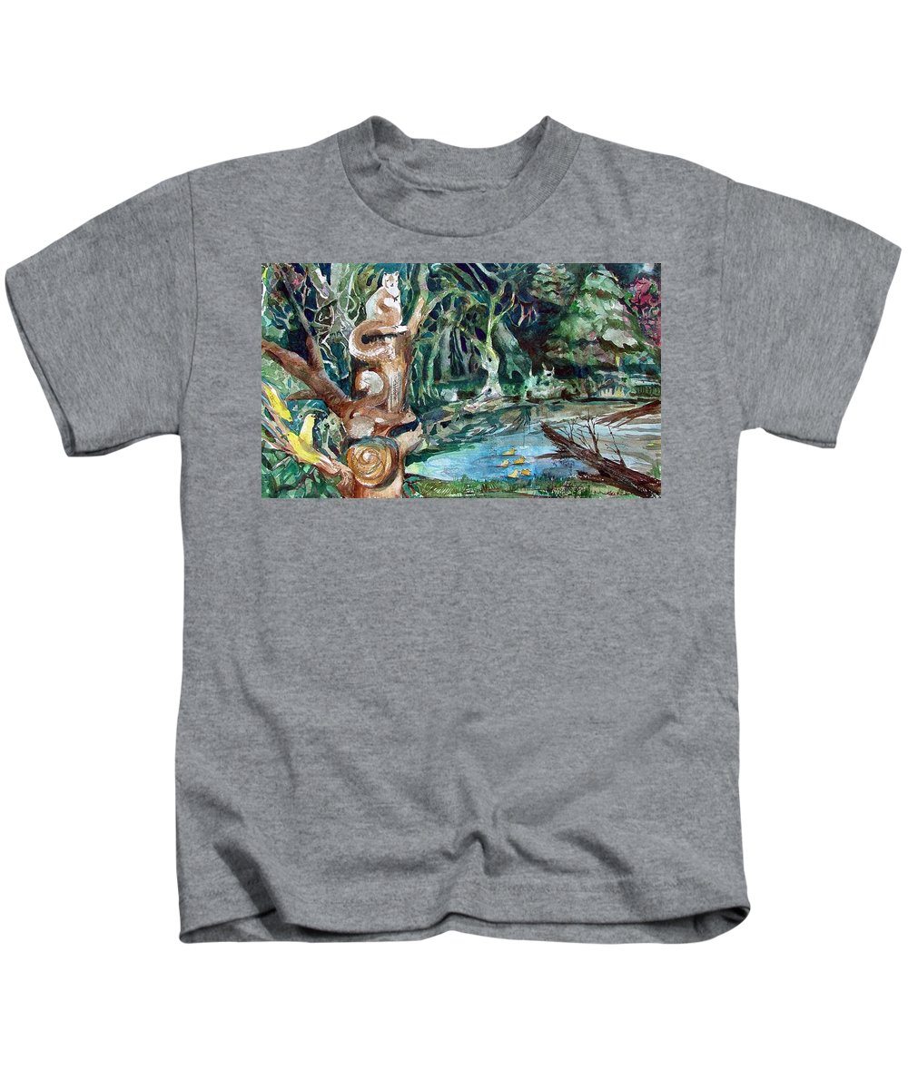 Squirrels Kids T-Shirt featuring the painting Woodland Critters by Mindy Newman