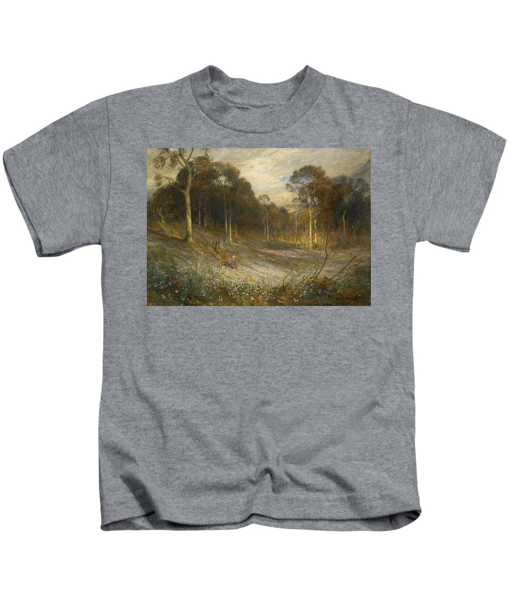 Reginald Rex Vicat Cole 1870-1940 Woodlands Gay With Lady Smocks Kids T-Shirt featuring the painting Woodlands Gay With Lady Smocks by MotionAge Designs