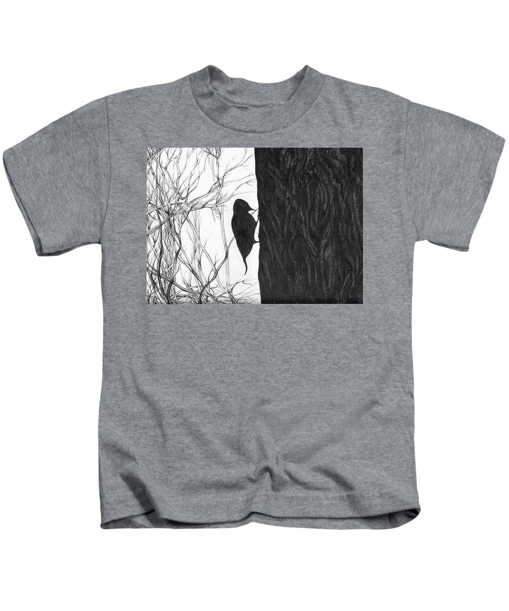 Pen And Ink Kids T-Shirt featuring the drawing Woodpecker by Anna Duyunova