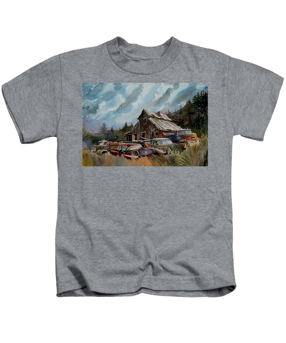 Cars Barn Wrecks Kids T-Shirt featuring the painting Yardmates by Ron Morrison