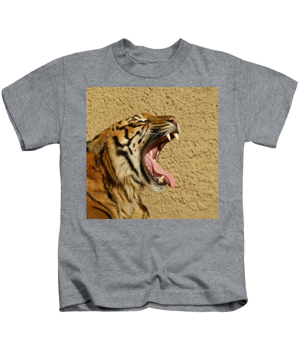 Tiger Kids T-Shirt featuring the photograph Yawn Of The Tiger by Ernie Echols