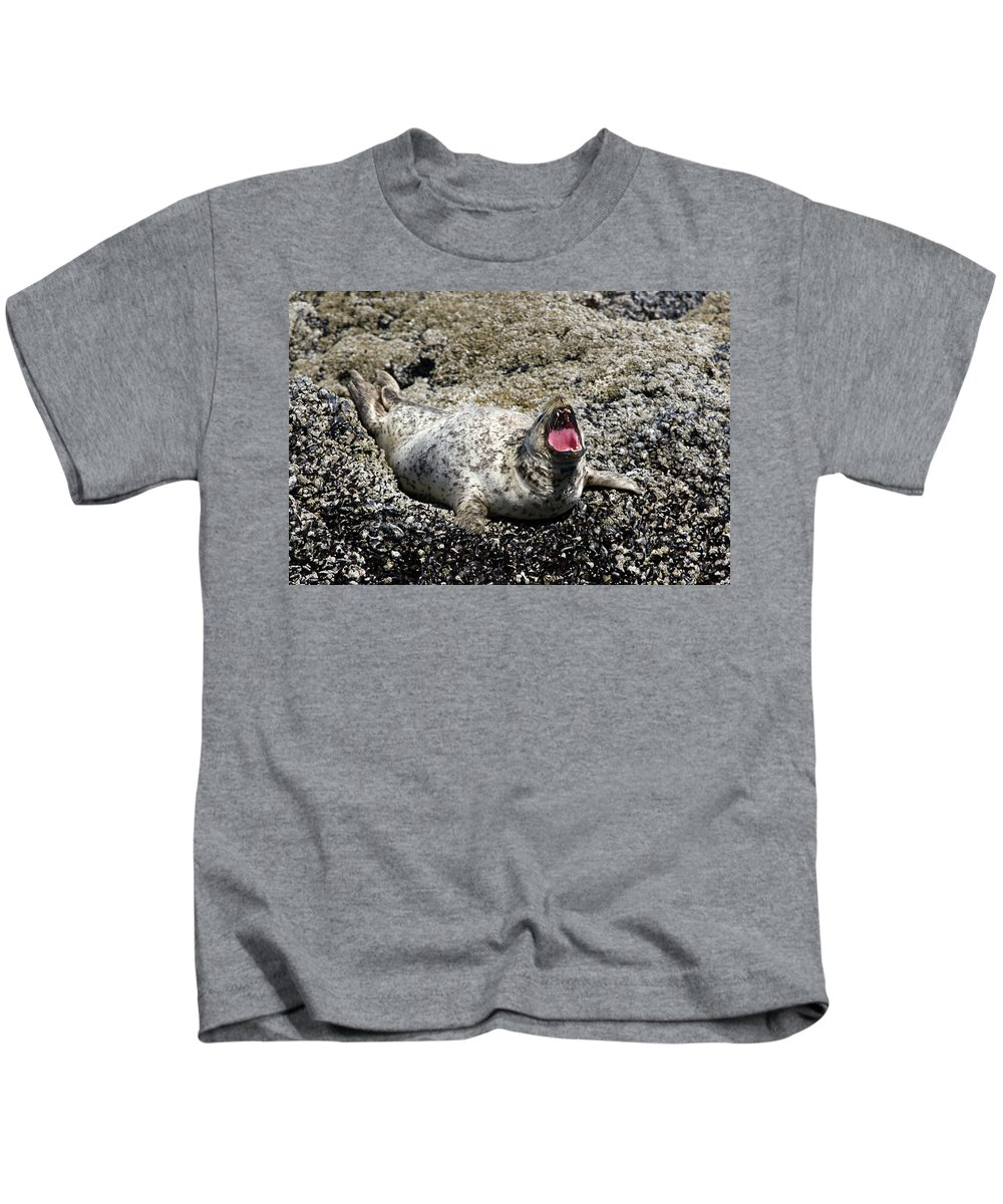 Animal Kids T-Shirt featuring the photograph Yawning Harbor Seal - Oregon Coast by Randall Ingalls