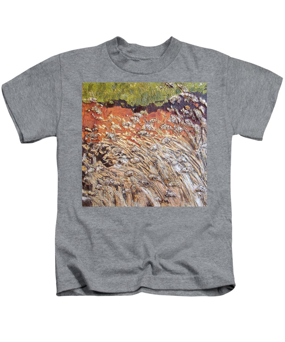 Abstract Kids T-Shirt featuring the painting Yearning by Piety Choi