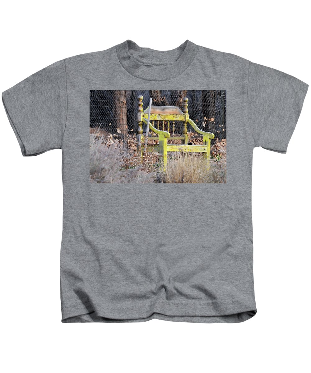 Bench Kids T-Shirt featuring the photograph Yellow Bench by David Arment